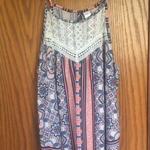 No Boundaries Size Large Patterned Tank Top